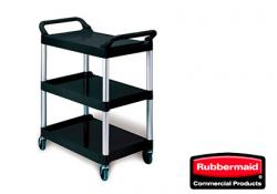 Rubbermaid FG342488BLA Carro de Servicio Abierto Tres Estantes (200 Libras) Negro  (Array)